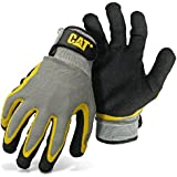 West Chester Cat CAT017415J Polyester Shell Gloves – Gray/Black/Yellow, Jumbo, Double Coated, Textured Latex Palm Gloves