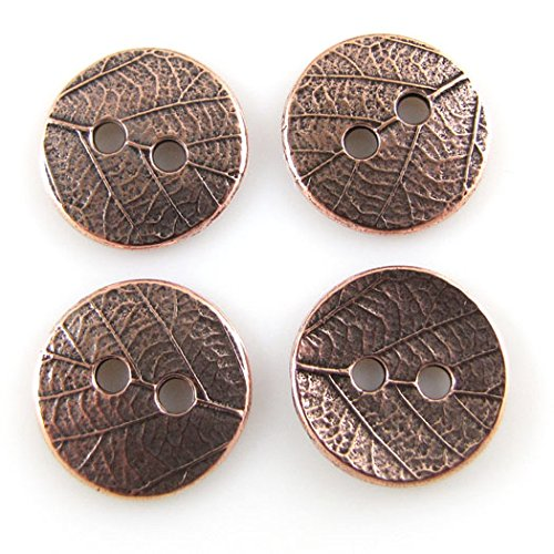 TierraCast Buttons-ANTIQUE COPPER ROUND LEAF (4) - Pewter Findings Antique Copper Plate