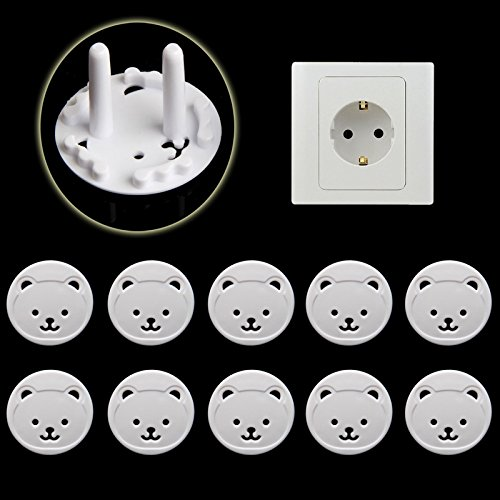 10Pcs Power Kid Socket Cover Baby Child Electric Power Mains Point Plug Protector Guard - European Round Plugs