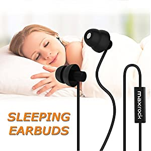 MAXROCK Sleep Earplugs – Noise Isolating Ear Plugs Sleep Earbuds Headphones with Unique Total Soft Silicone Perfect for Insomnia, Side Sleeper, Snoring, Air Travel, Meditation & Relaxation(Black)