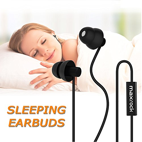MAXROCK Sleep Earplugs - Noise Isolating Ear Plugs Sleep Earbuds Headphones with Unique Total Soft Silicone Perfect for Insomnia, Side Sleeper, Snoring, Air Travel, Meditation & Relaxation(wh)