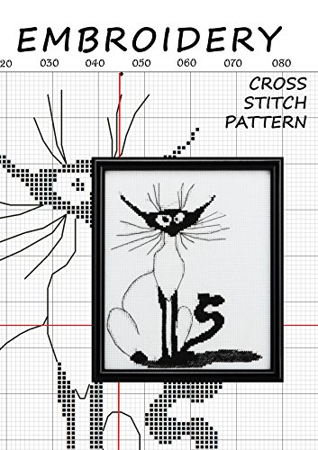 Cross-stitch pattern collection cats halloween Counted cross stitching for beginners Needlecrafts stitchX hand embroidery Stitchery motif Needlework canvas ornament Illustration minimalist line (Canvas Ornaments)