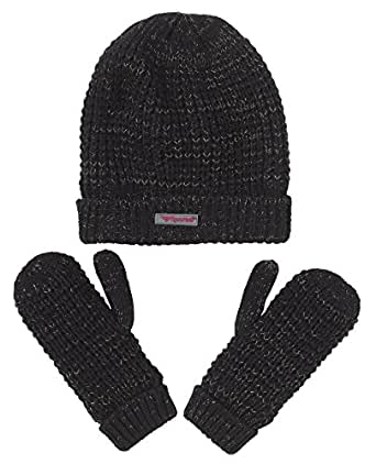 Sportoli Girls' Kids Knit Cold Weather Accessory Set Warm Hat, Scarf and Gloves (Black)