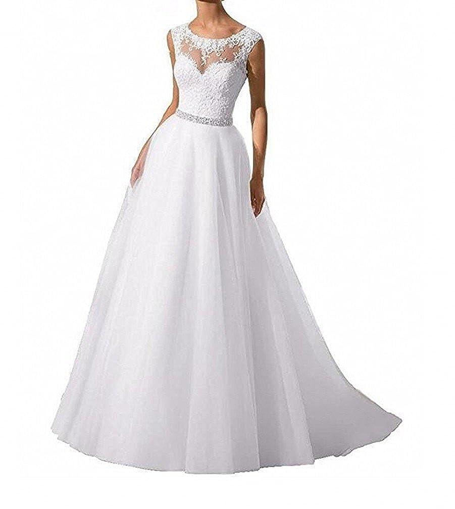 SDRESS Women's Appliques Illusion Crew Neck Long A-line Bridal Wedding Dress
