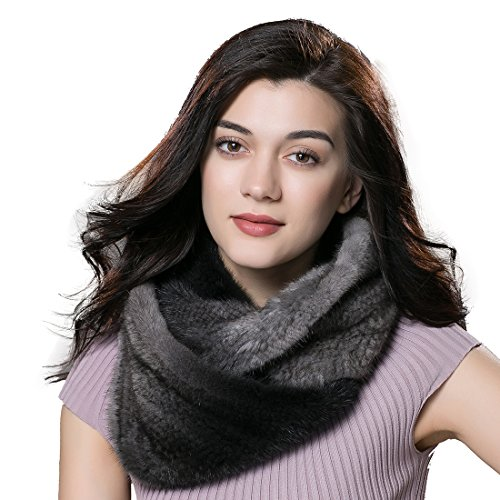 URSFUR Winter Ladies Scarves Real Mink Snood Fur Infinity Scarf Multicolor by URSFUR
