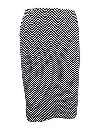 Herringbone Womens Skirt - Kasper Women's Novelty Herringbone Slim Skirt, Black/Ivory, 4