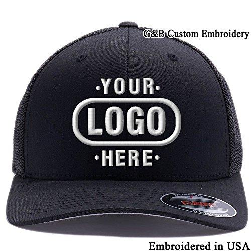 er Hat 6511. Embroidered. Your Own Logo Curved Brim (Black Flex) (Yupoong Flex Fit)