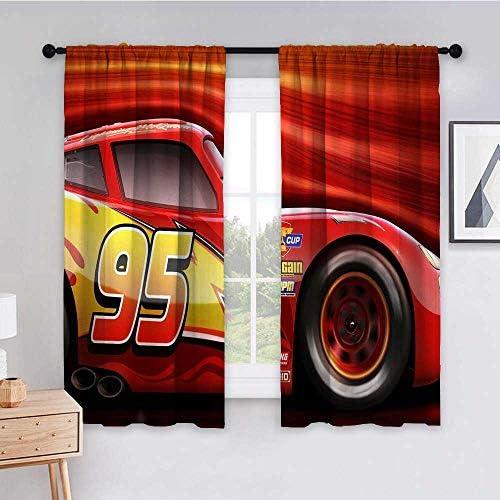 Purseroom Bedroom Draperies Blackout Curtain Panels 63×72 inch Cars 3 Lightning McQueen 4k