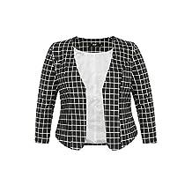 Agnes Orinda Women's Plus Size Open Front Plaids Business Blazer