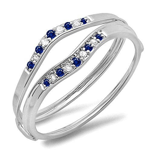 10K White Gold Blue Sapphire & White Diamond Ladies Anniversary Enhancer Guard Wedding Band (Size 7.5)