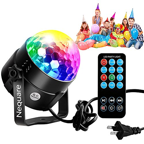 Nequare Party Lights Disco Ball Strobe Lights, Disco Lights Karaoke Machine 3W Dj Light LED Portable 7Colors Sound Activated Stage Lights for Festival Bar Club Party Outdoor and More (with Remote)