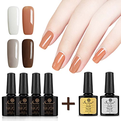 Saviland 4 colors Gel Polish + No Wipe Top Coat Base Coat, S