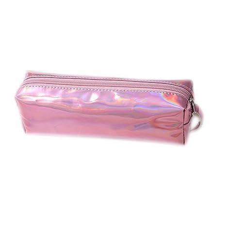 JUNGEN® Caja de Lápiz Bolsa de Cosmético Estuche Escolar del Cosmética Bolsa con Cremallera para niñas (Rosa)
