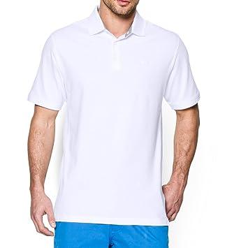 Under Armour Mens UA Performance Cotton Pique Polo Medium White ...