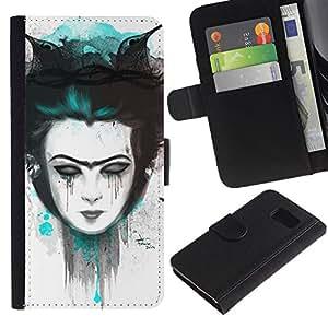 Protector de cuero de la PU de la cubierta del estilo de la carpeta del tirón BY RAYDREAMMM - Samsung Galaxy S6 - Triste chica Emo