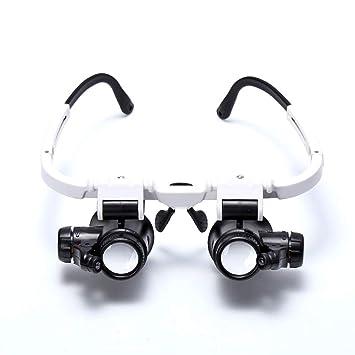 DAMAI 6X 8X 10X 15X 20X 25X Loupe Magnifier LED Lunettes Bijoutier Loupes  Grossissantes Lentilles Amovibles 29748e92e0e9