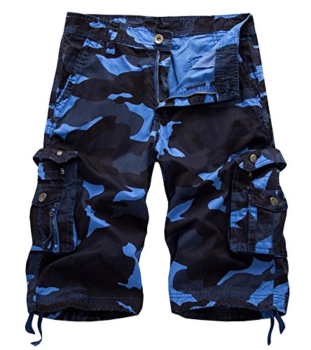 AOYOG Mens Multi-Pocket Camo Cargo Shorts Casual Loose Fit Camouflage Short Cotton by AOYOG