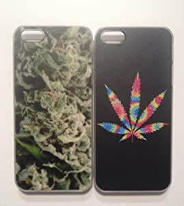 Lot of 2 Marijuana Kush & Psychedelic Leaf iPhone 5/5s Hard Plastic Bumper Case Clear Sides