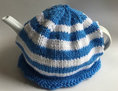 (Blue and White Knitted Cornish Tea Cozy)