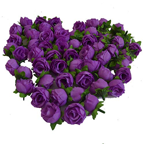 Eternal Blossom Artificial Rose Flower Head 50PCs for Wedding Planning, Holiday Party, 3cm Fake Flower Home Decoration, Baby Shower (Deep Purple)