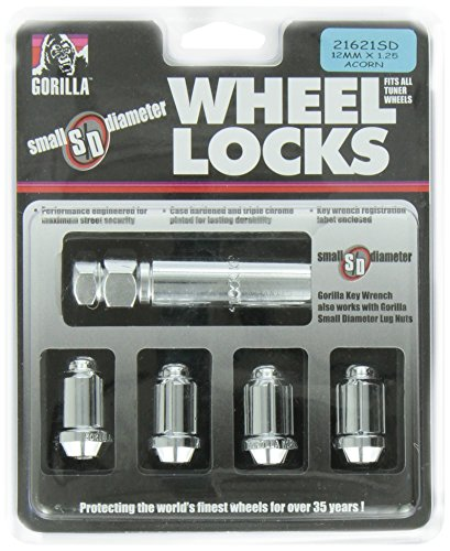 Gorilla Automotive 21621SD Small Diameter Wheel Locks (12mm x 1.25 Thread Size), Pack of ()