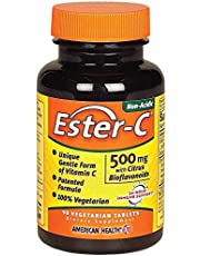 American Health Ester-C Vitamin C - 500 mg with Citrus Bioflavonoids - 24-Hour Immune Support - Non-Acidic Gentle On Stomach - 90 Vegetarian Tablets