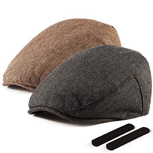 LADYBRO Black+Brown Wool Newsboy Cap - Men Hat Tweed Driving Scally Cap Ivy Hat Gift for Men ()