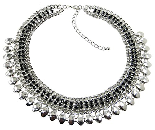 Veenajo Vintage Boho Multilayer Acylic Round Choker Necklace Women Girls Fashion Jewelry Accessories(Silver)