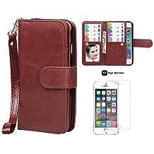 Case for iPhone 5/5S, xhorizon TM SR Premium Leather Folio Case[Wallet Function][Magnetic Detachable]Wristlet Purse Soft Flip Multiple Card Slots Case for iPhone 5/5S +1 PCS HD Screen Protector