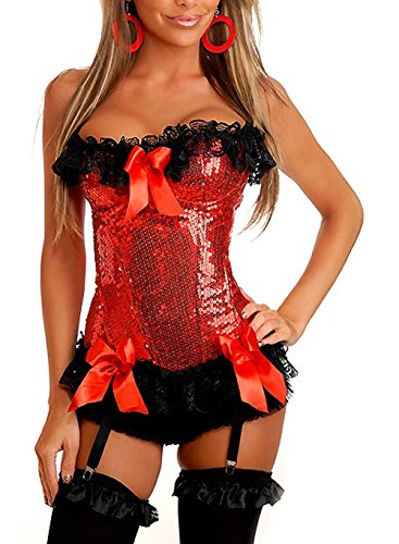 Red Sequin Underbust Corset - Dingang Women's Glamorous Glitter Sequin Halter Lace Trim Body Shaper Corset