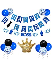 Baby Boss Birthday Party Supplies - Happy Birthday Banner, Boss Felt Garland, Gold Crown Aluminum Foil Balloons, Latex Balloons for Kids Birthday Party Decorations