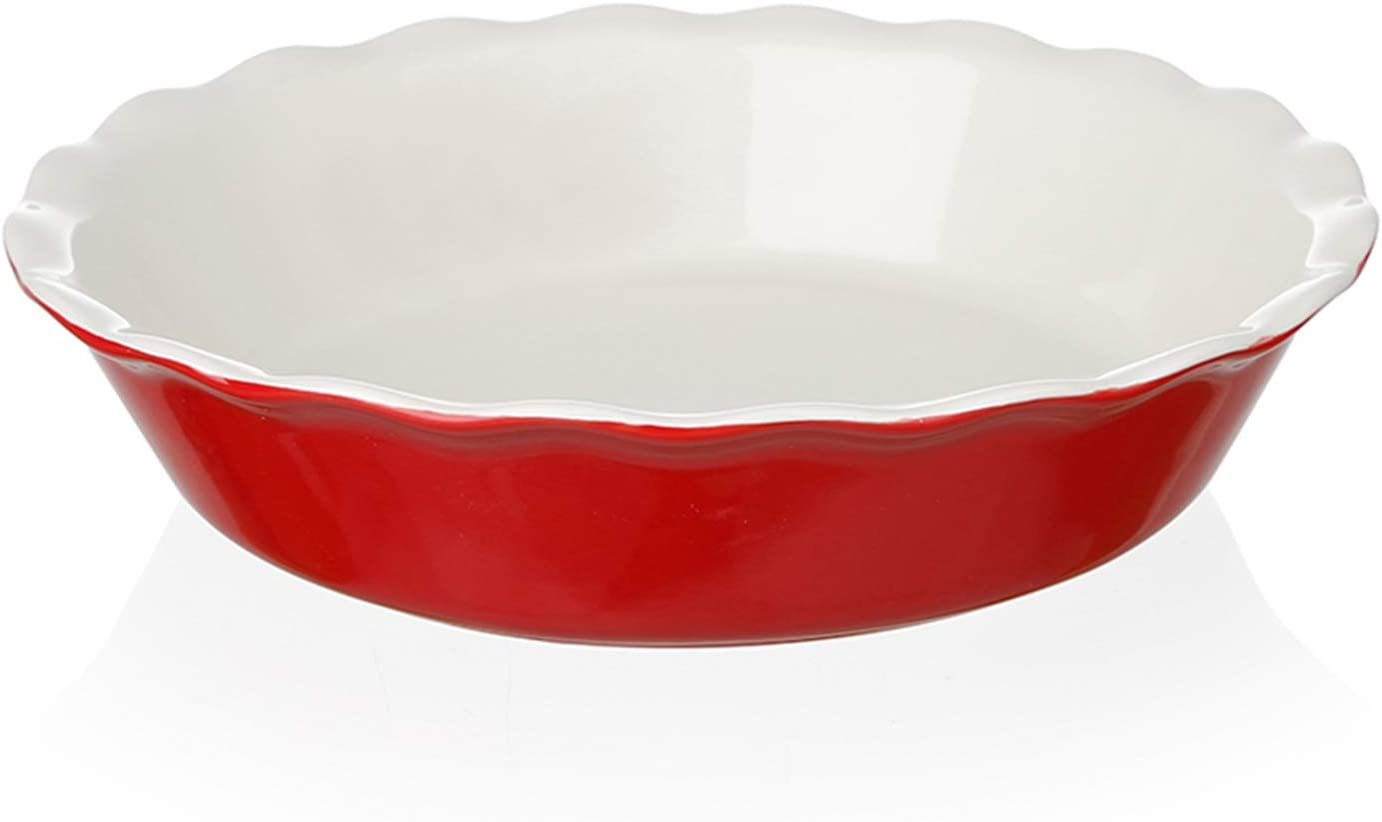 SWEEJAR Ceramic Pie Pan for Baking, 10 Inches Round Baking Dish for Dinner, Non-Stick Pie Plate with Soft Wave Edge for Apple Pie, Pumpkin Pie, Pot Pies (Red)