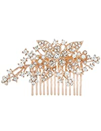 Ever Faith Bridal Triple Flower Leaf Clear Austrian Crystal Hair Comb Rose Gold-Tone N00415-3
