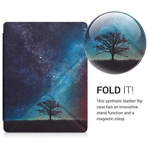 kwmobile Origami Case Compatible with Kobo Aura H2O Edition 2 - Slim Premium PU Leather Cover with Stand - Cosmic Nature Blue/Grey/Black