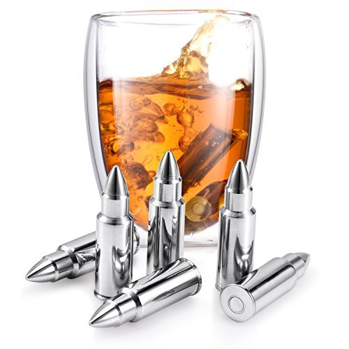 (Set of 6 Whiskey Chilling Stones Reusable Stainless Steel Bullet Shaped Rocks with Tongs and Storage Pouch | Perfect Gift for Whiskey Lover )