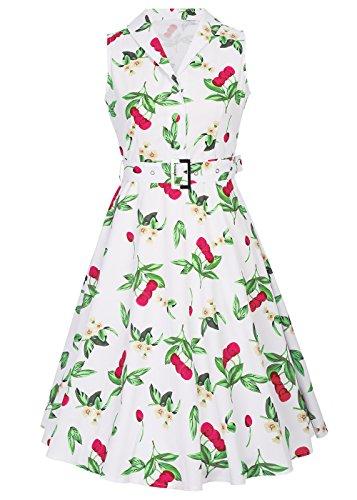 vintage V con Blanco té rockabilly cinturón de Womens con 50s vestido cuello mangas desmontable Cereza sin en Uqn8tYpF