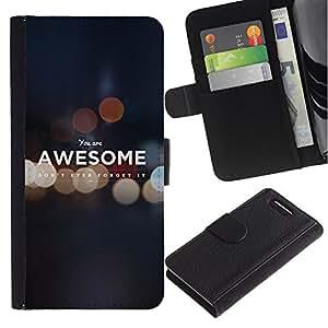 Sony Xperia Z1 Compact / Z1 Mini / D5503 , la tarjeta de Crédito Slots PU Funda de cuero Monedero caso cubierta de piel ( Awesome Self Worth Quote Motivational)