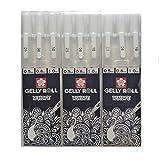Sakura Gelly Roll White gel pens White assorted sizes, 05 Fine / 08 Medium / 10 Bold - 9 pen bundle