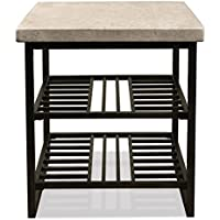 End Table with Tubular Metal Slats