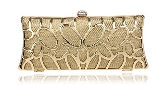 Price comparison product image V&J Womens Elegant Evening Party, Wedding Party Handbag Clutch Bag (0018-gold)