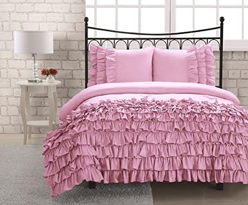 UPC 889318166840, Luxurious 500 Threadcount 3 Peice Half Ruffle Duvet Set in Twin Solid Pink By Bed&Linen