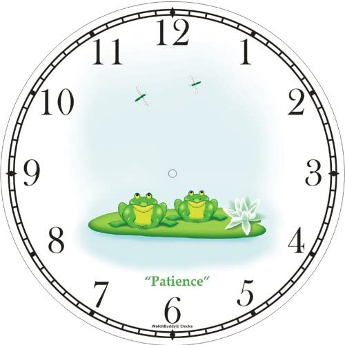 Two Green Frogs 0n Lily Pad Dragonflies Cartoon Patience – Frog – JP Animal Wall Clock by WatchBuddy Timepieces Hunter Green Frame