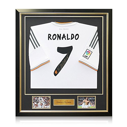 Framed Cristiano Ronaldo Signed Real Madrid Soccer (Real Signed Autograph)