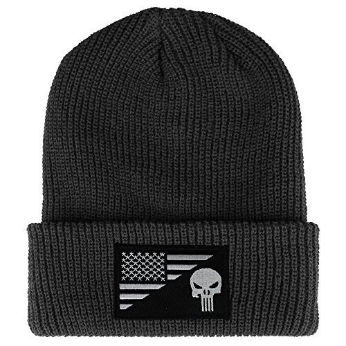 Armycrew Punisher Black White American Flag Embroidered Patch Ribbed Cuffed Beanie - Dark Grey]()