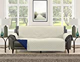 Blissful Living Reversible Non-Slip Couch Cover - Perfect Slipcover to Protect your Furniture from Pets and Kids, Elastic Strap to secure Fit on Couches, Loveseats, & Chairs (Cream/Navy, Sofa)