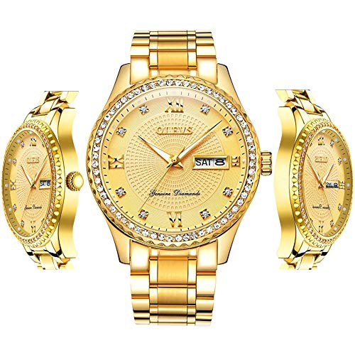 Diamond Watch - OLEVS Inexpensive Gold Watches for Men Waterproof Gold Mens Luxury Watch with Fashion Date Analog Quartz Watch Gift for Birthday Party Business