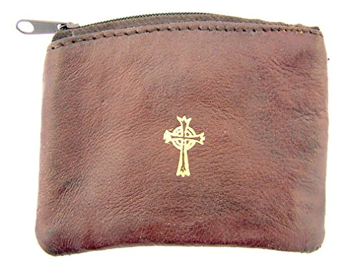 Sheepskin Leather Rosary Case with Gold Stamped Celtic Cross, 3 1/4 Inch (Brown) (Leather Stamped Brown)