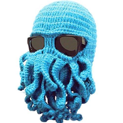 Tentacle Octopus Cthulhu Knit Beanie Hat Cap Wind Ski Mask (Sky Blue - Ski Box Bag Oakley