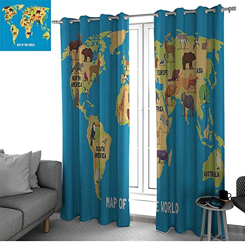bybyhome Wanderlust Decor Kitchen/Bedroom Window Treatments Home Decoration Flat Map of World Artwork with Animals Living in Different Parts of Continents Light Curtain W84 x L96 Inch