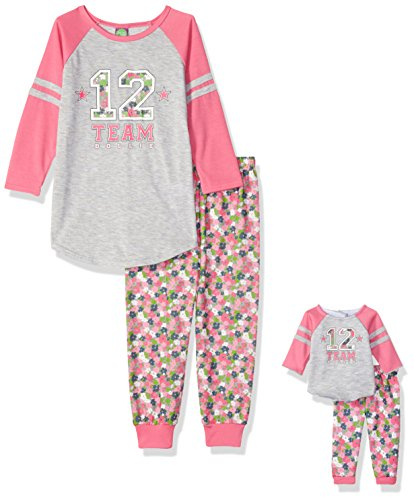 Dollie & Me Big Girls' Sporty Floral Sleepwear Set, Pink/Grey, 8 (Me Doll)
